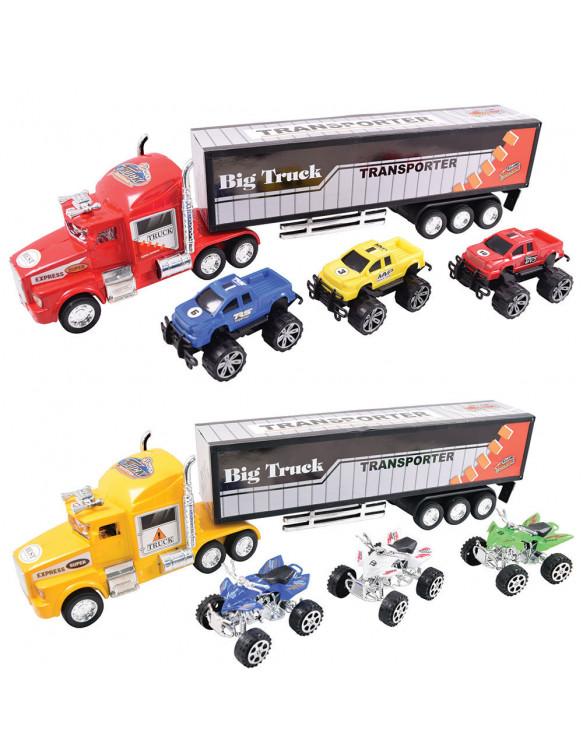 Camión Transportador con 3 Vehículos 715843155618 Coches, motos