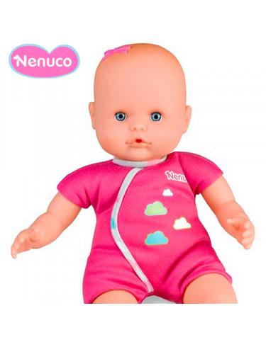 Nenuco Biberón Sonajero Pijama rosa con nubes