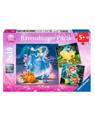 PRINCESAS DISNEY Puzzle 3X49pz 4005556093397 Menos de 50 piezas