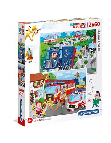 VEHICULOS DE EMERGENCIA Puzzle 2x60pz 8005125216024 Menos de