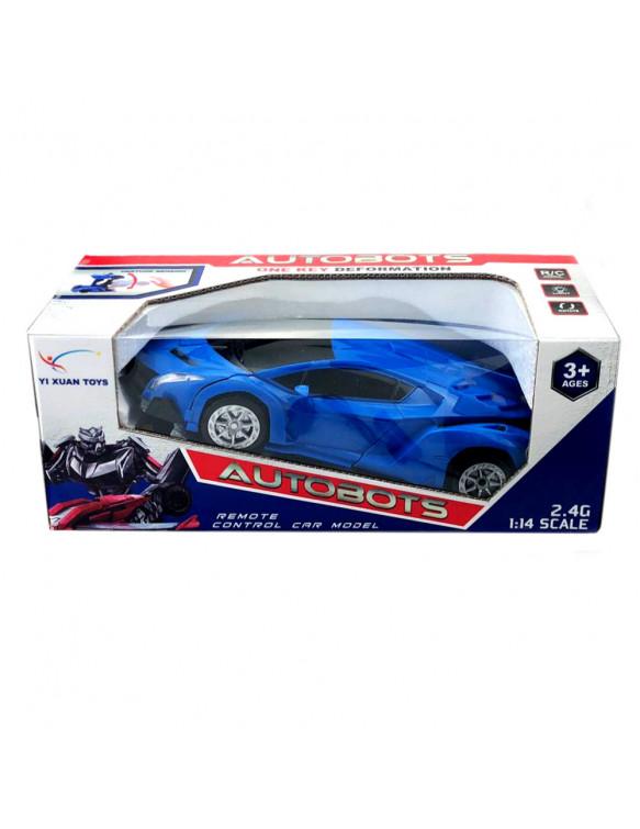 Car Transformable Rc con Luz Y Sonido, 2 Colores Rojo/Azul