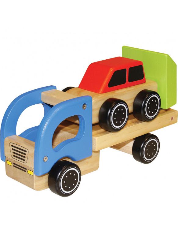 Camión Transportador Con 1 Coche Madera
