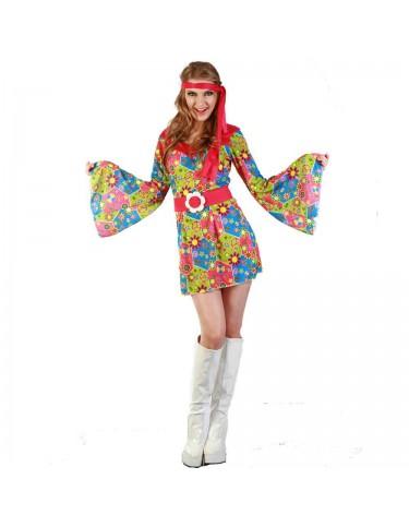 Disfraz Hippie Vestido Flores Adulto T-42 4719484835041