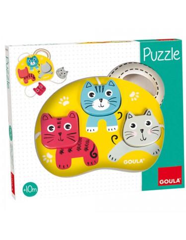 Puzzle 3 Gatos Madera 8410446534601
